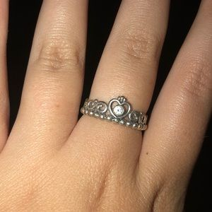 silver pandora crown ring